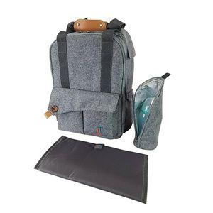 Grey diaper bag backpack
